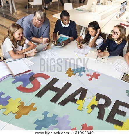Share Exchange Feedback Social Communication Concept