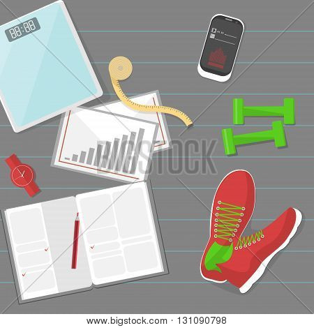 Set of fitness tools. Set of mat, sneakers, phone, diary and scale. Workout with dumbbells. Health and sport. Gym concept.