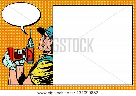 Male master repairman with a drill pop art retro vector. Building and repair. The industrial background. Retro pop art master. Profession