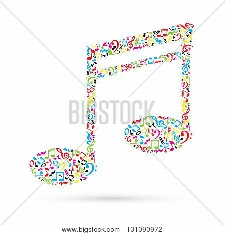 Music note made of music notes on white background. Colorful notes pattern.  Note shape. Poster and decoration idea.