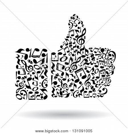 Thumb up gesture made of music notes on white background. Black notes pattern. Black and white design. Hand shape. Poster and decoration idea.