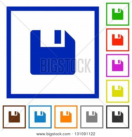 Set of color square framed save flat icons