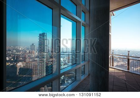 Milan Italy - February 10 2015: Porta Nuovapanoramic view from the Unicredit tower inside