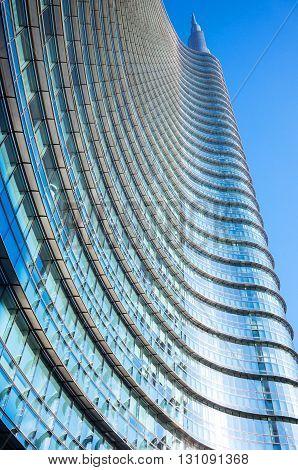 Milan Italy - February 10 2015: Porta Nuova upward view of the Unicredit Tower