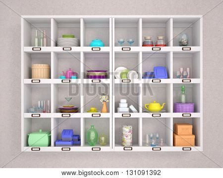 3d illustration of colorful and bright kitchen accessories on white shelves