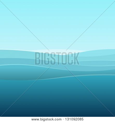 Sea Abstract Background of Blue Waves. Vector illustration