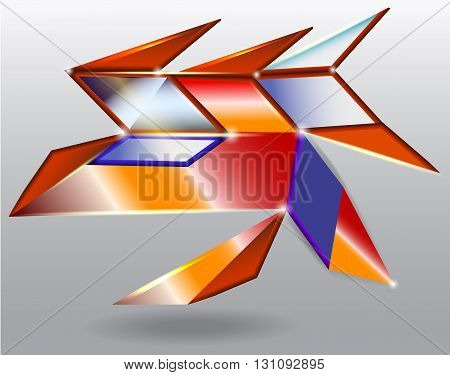 Abstract futuristic object resembling alien spaceship with solar panels
