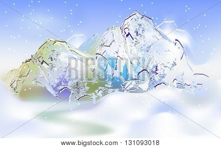 Winter abstract mountain landscape with falling snow