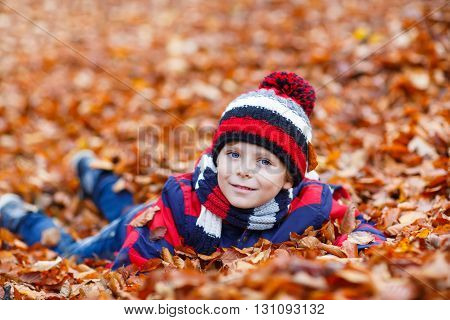 Portrait of happy cute little kid boy with autumn leaves background in colorful clothing. Funny child having fun in fall forest or park on cold day. With hat and scarf