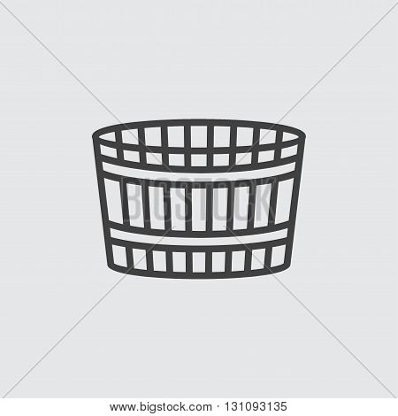 Wooden bucket icon illustration isolated vector sign symbol