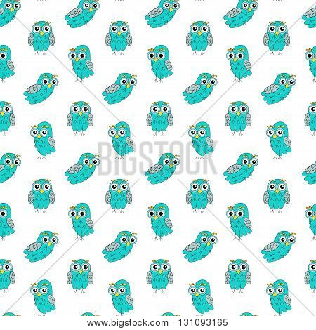 Owl turquoise vector seamless pattern. vector illustration owl.