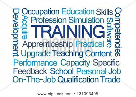 Training Word Cloud on White Background