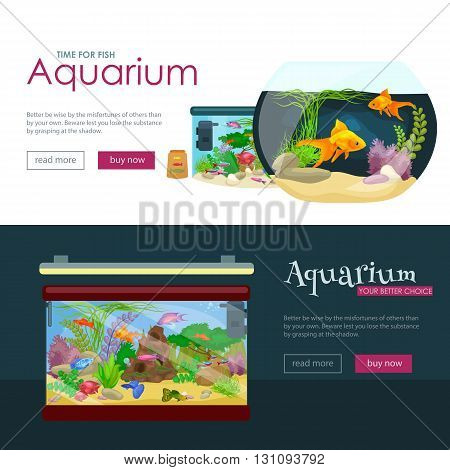 Aquarium fish, seaweed underwater, banner template layout with marine animal vector illustration