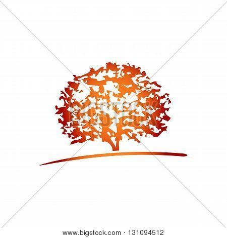 Beautiful stylized tree and lanscape vector illustration isolated on white background.