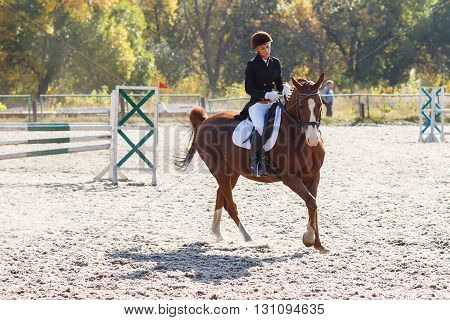 Young Girl Riding Horse In Equestrian Competition