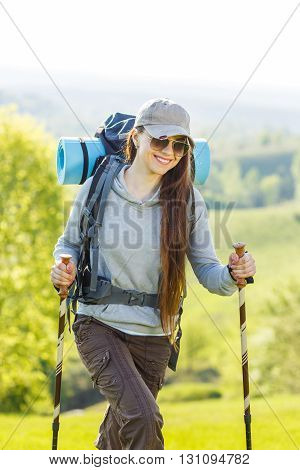 Hiker Backpacker Girl Enjoying Journey In Country