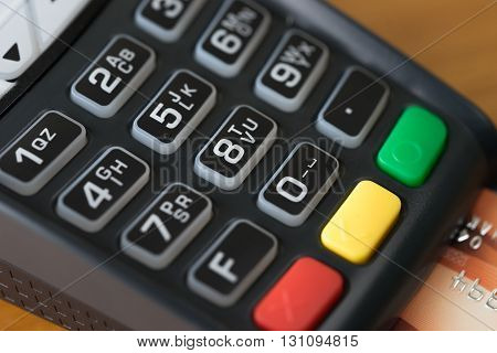 Close up Credit card payment wood background