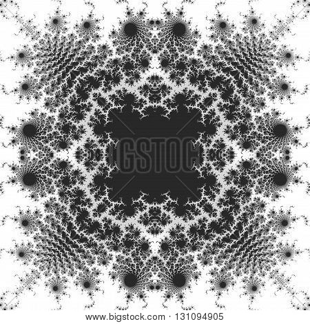 Abstract black and white fractal pattern with scalloped structure. Kaleidoscopic ornamental magic pattern with stylized flowers on a white background
