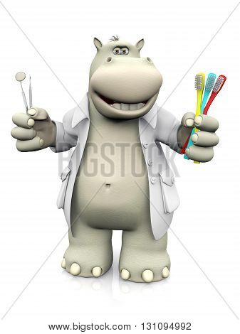 A smiling cartoon hippo dentist holding three toothbrushes in one hand and dental tools in the other. 3D rendering. White background.
