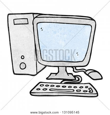 freehand textured cartoon desktop computer