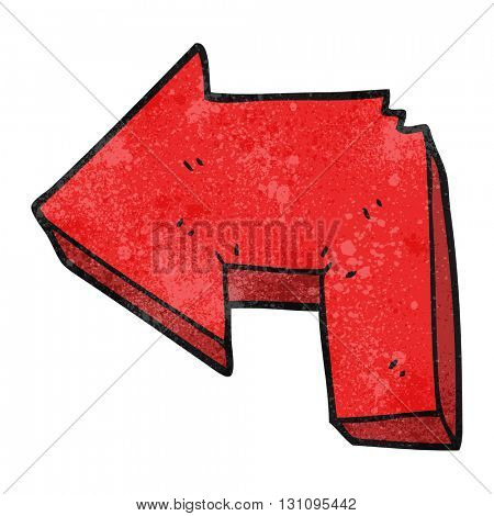 freehand textured cartoon direction arrow