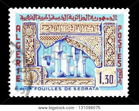 ALGERIA - CIRCA 1967 : Cancelled postage stamp printed by Algeria, that shows Ruins at Sedrata.
