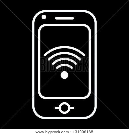 Modern mobile phone with internet sign. Line art vector icon isolated on a black background.
