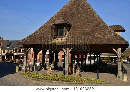 Lyons la Foret France - march 15 2016 : the picturesque 17 th century covered market