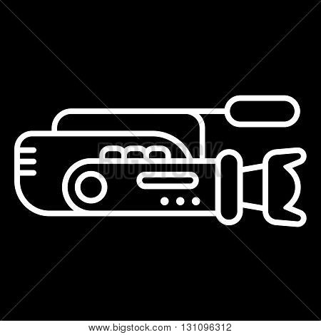 Video camera line art vector icon isolated on a black background.