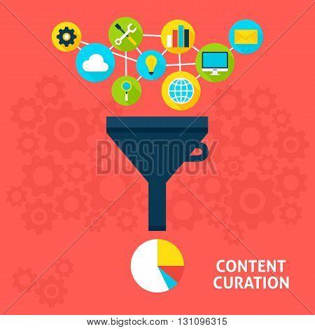 Content Curation Flat Concept