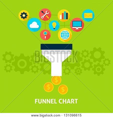 Funnel Chart Flat Concept