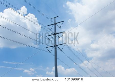 Power line against the blue sky and clear sky