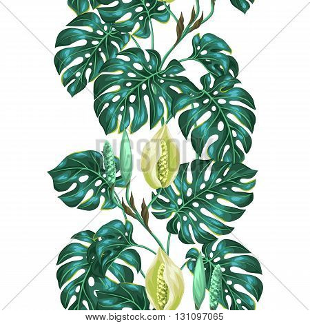 Seamless pattern with monstera leaves. Decorative image of tropical foliage and flower. Background made without clipping mask. Easy to use for backdrop, textile, wrapping paper.