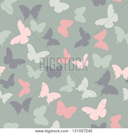 Vector seamless pattern with random grey pink creamy butterflies on grey background. Vintage elegant child baby design for wrapping textile fabric invitation greeting wedding cards websites