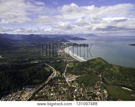 Aerial View of Sao Sebastiao Coastline, Sao Paulo, Brazil