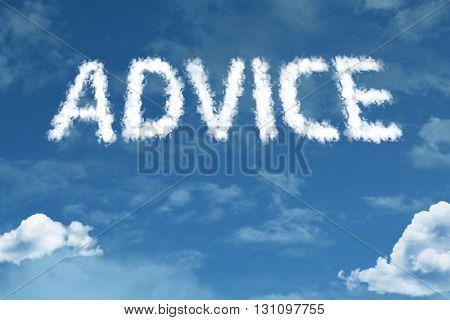 Advice cloud word with a blue sky