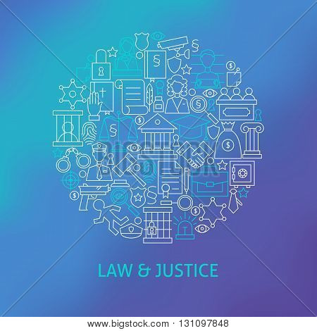 Thin Line Law And Justice Icons Set Circle Concept