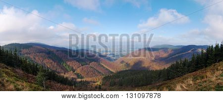 Panoramatic view on Beskydy protected landscape area in Czech republic