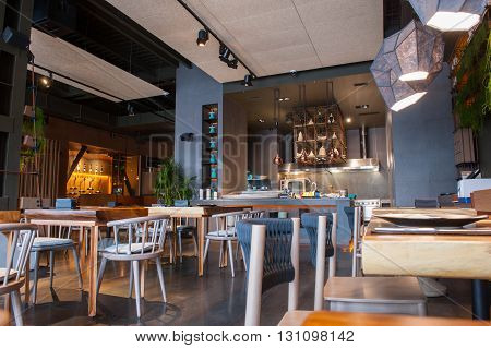 Just eat and relax. Elegant restaurant with modern furniture is waiting for its clients
