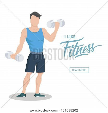I like fitness concept. Sporty young man in sportswear with dumbbells. Workout and sport motivation. Web page template. Flat color vector illustration.