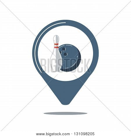 Map pointer with bowling ball and bowling pin. Ball with pin skittle. Bowling game sign. Geo pin. Sport club navigation. Vector illustration.