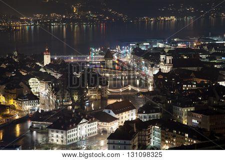 Aerial view of downtown Luzern (Lucerne) Switzerland