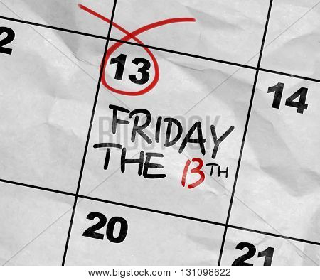 Concept image of a Calendar with the text: Friday The 13th