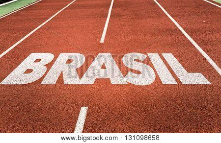 Brazil (in Portuguese) written on running track