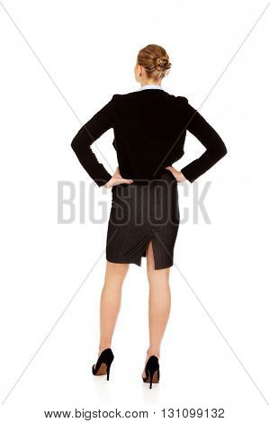 Back view of elegant businsess woman