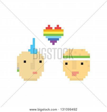 Pixel art style two homosexual boys vector