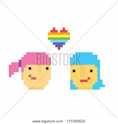 Pixel art style two lesbian girls vector
