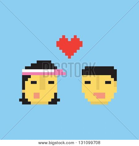 Pixel art style asian couple in love vector