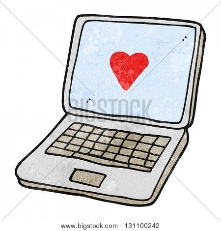 freehand textured cartoon laptop computer with heart symbol on screen