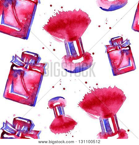 watercolor pink cosmetics pattern on a white background